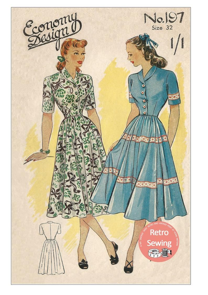 1940 S Roll Collar Button Front Day Dress Pdf Sewing Pattern Bust 32 In 2020 1940s Dress Pattern Collar Dress Pattern Rolled Collar