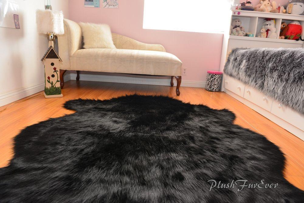 Sheepskin Flokati Nursery Black Bear Fur Area Rug Baby Rugs Home Accents Baby Rugs Black Faux Fur Rug Rug Styles