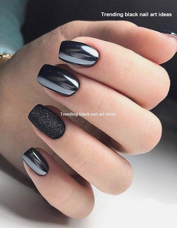 20 Simple Black Nail Art Design Ideas Blacknails Naildesigns Unghie Colorate Unghie Idee Unghie Opache