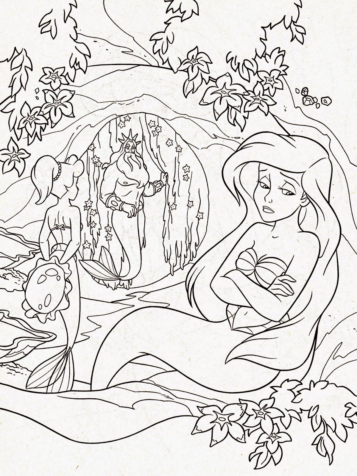 Hard Coloring Pages Of Mermaids | Coloring Online | Adolt Colouring ...