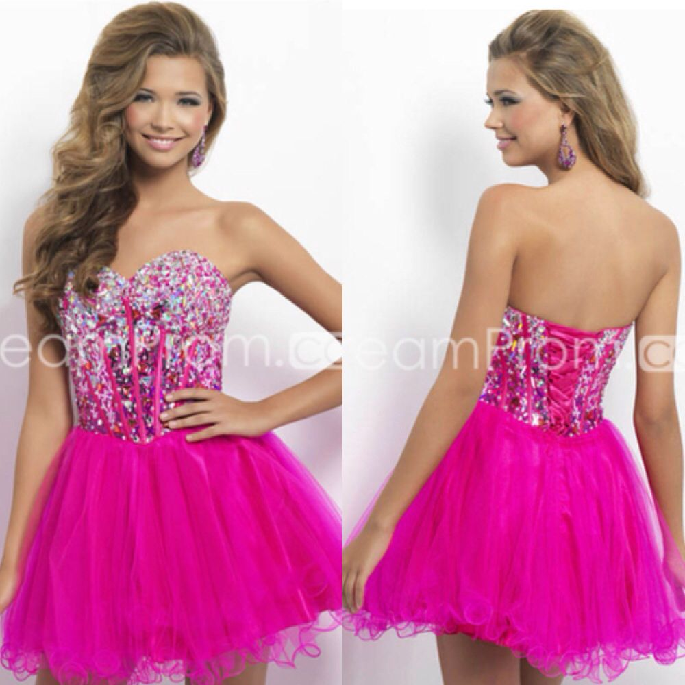 Bling Hot Pink Homecoming Dress 💖 | Plus size homecoming ...