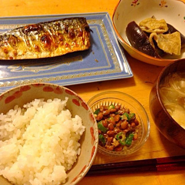 ナスの煮浸し、納豆、冬瓜スープ - 10件のもぐもぐ - 塩サバ定食 by hamarika