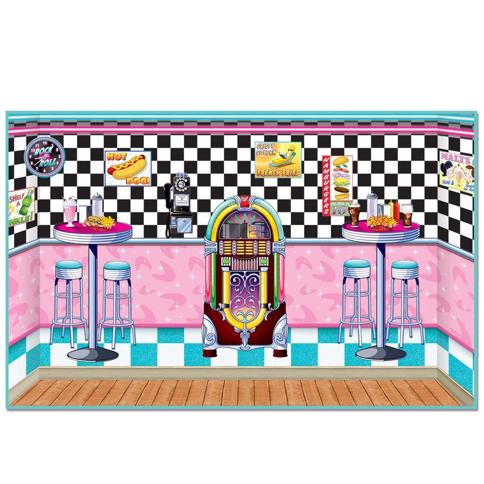 1950 39 s diner backdrop kit 1950 39 s soda shop scene kit for 1950s party decoration