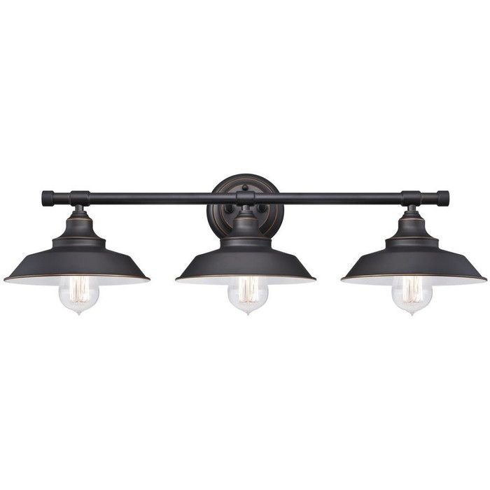 Westinghouse 6343400 iron hill three light indoor wall fixture oil rubbed bronze finish with highlights and metal shades
