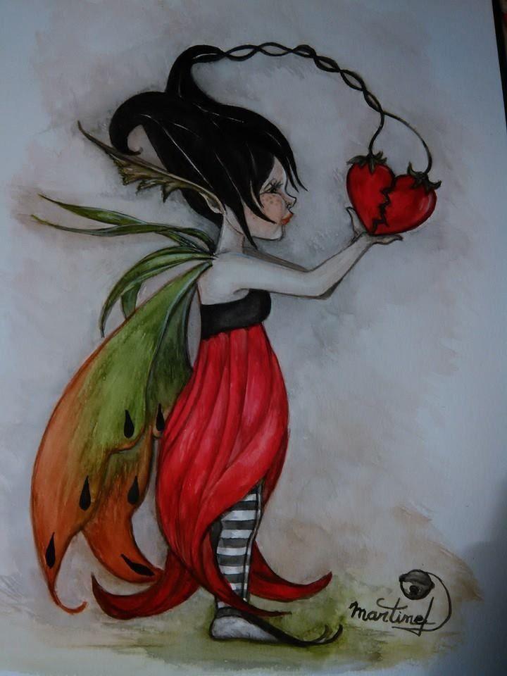 Aquarelle D Une Fee Follette Et Son Coeur Fantasy Drawings
