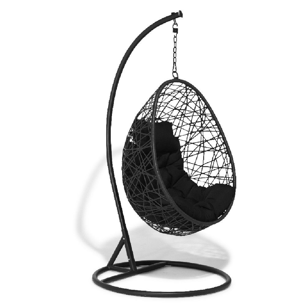 fauteuil de jardin suspendu noir il vous sduira par sa structure en forme de cocon et son assise confortable rhausse dun coussin matelass couleur noir - Fauteuil Jardin Suspendu