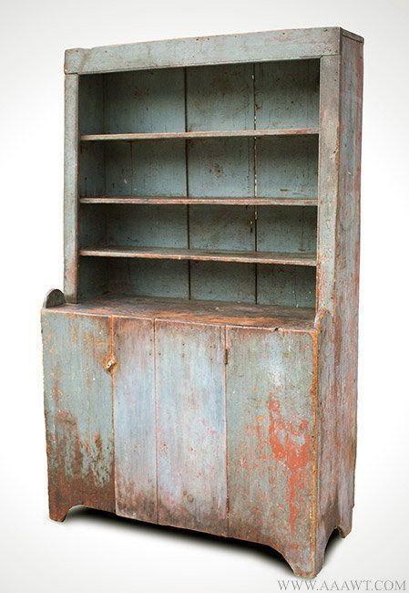 Antique Country Step Back Cupboard with Original Surface History, New  England, Circa 1800, - Antique Country Step Back Cupboard With Original Surface History