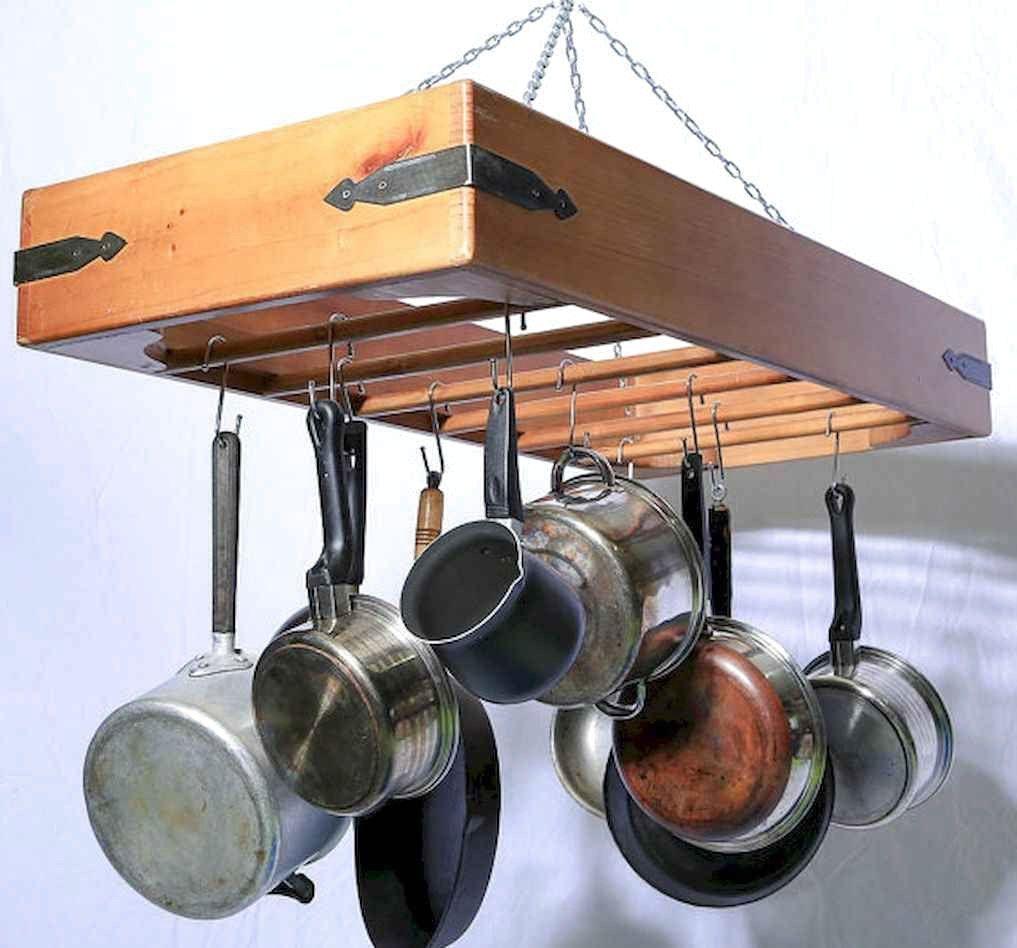 Best Hanging Rack Kitchen Decor Ideas | Pot rack hanging ...