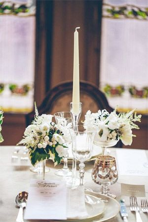 French Provincial Inspired Wedding Table Centrepiece With Candle Stick Brides Of Adelaide
