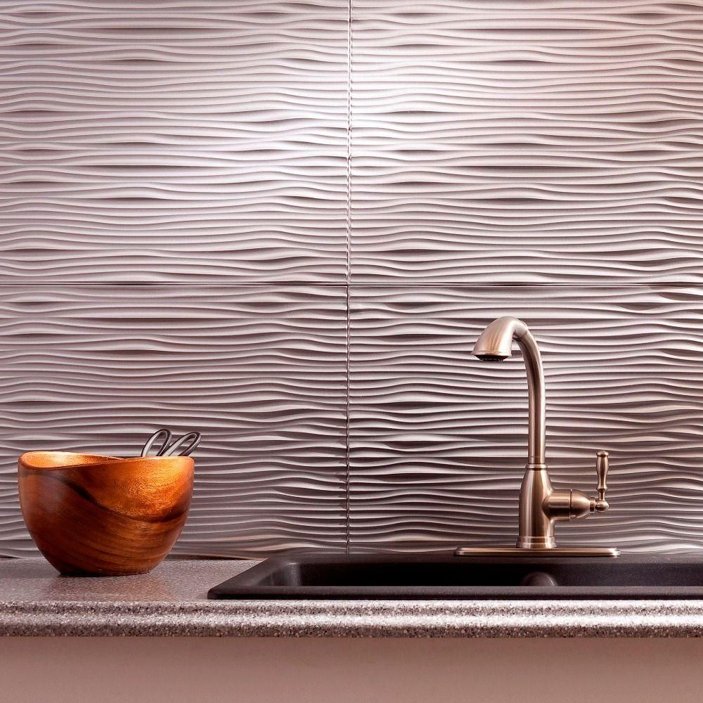 Fasade 18 25 In X 24 25 In Argent Silver Waves Pvc Decorative Tile Backsplash B65 09 The Home Depot Decorative Tile Backsplash Backsplash Panels Tile Backsplash