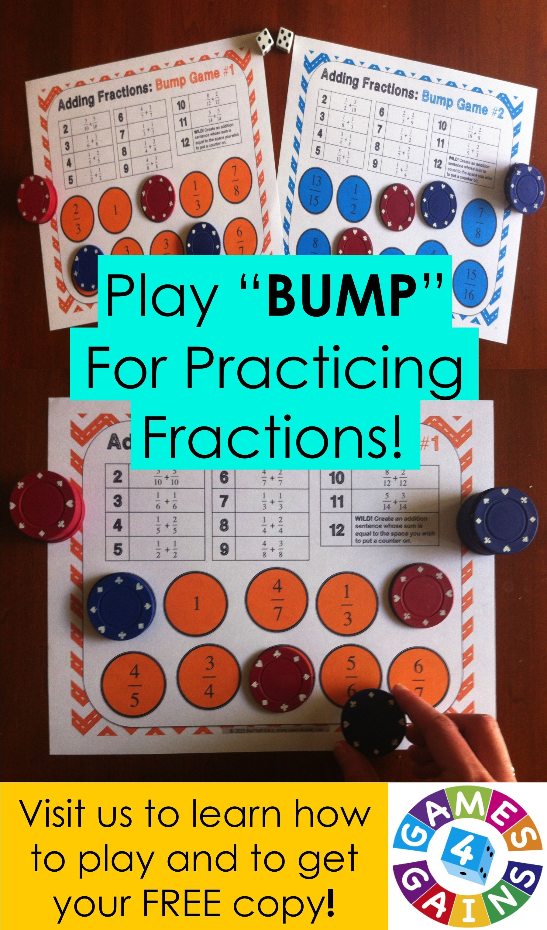 Adding Fractions Bump Game Freebie Games 4 Gains Math Fractions Fractions Math Adding fraction math games