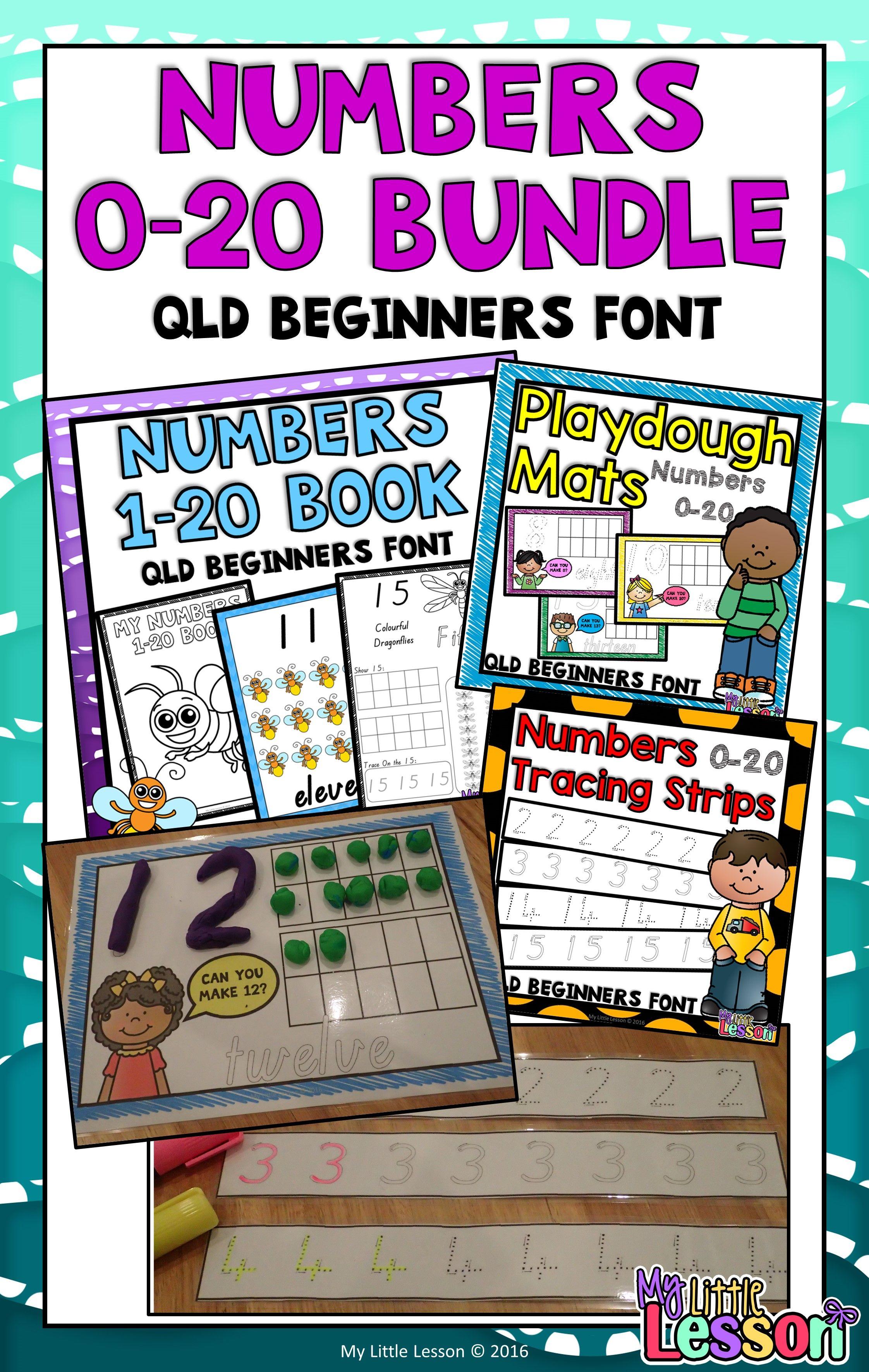 Numbers 0 20 Bundle Qld Beginners Font Worksheets