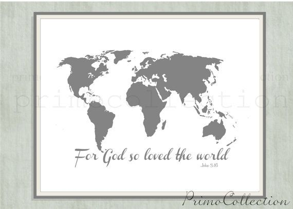 Map of the world wall art print john 316 bible verse for god modern burlap 47 x 47 white world map organic swaddling blanket gumiabroncs Image collections