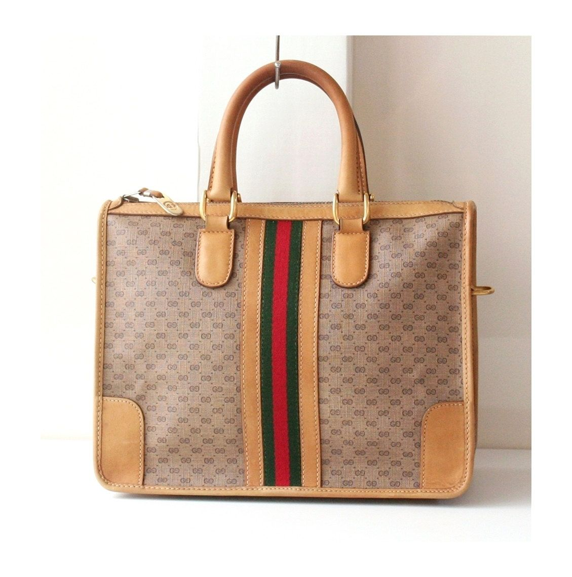Etsy Vintage Gucci Gucci Vintage Monogram Red Green Tote Authentic Handbag