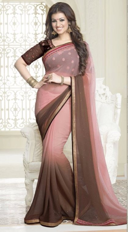 89b0604d64 Pink And Brown Shaded Pure Georgette Embroidered Border Saree ...