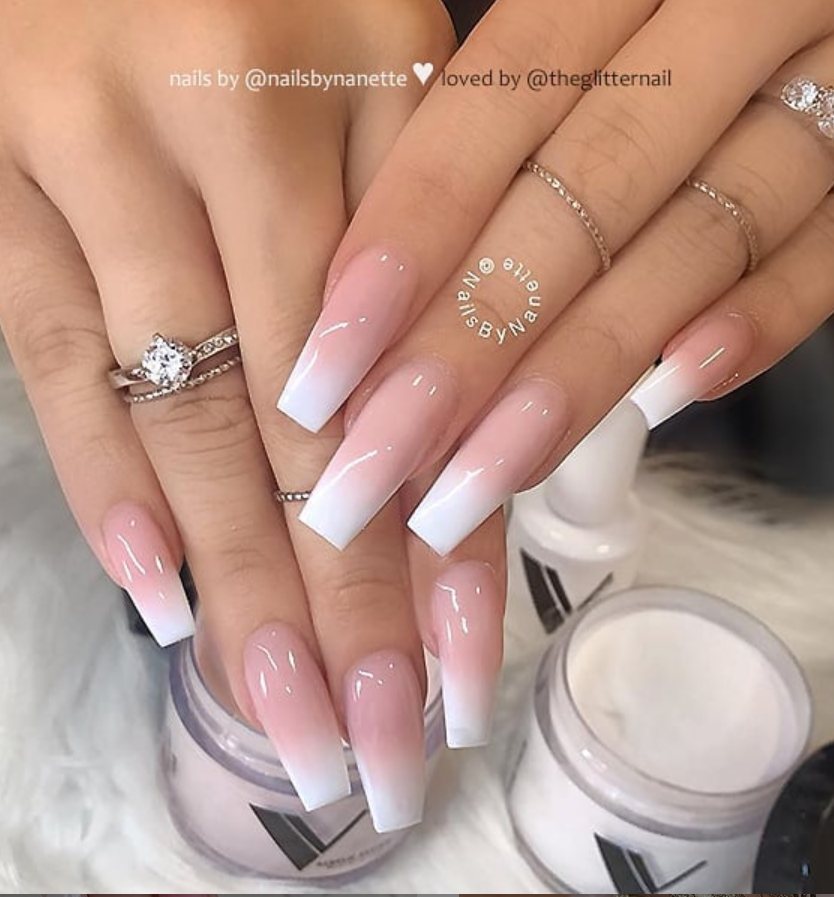 50 Pretty French Pink Ombre And Glitter On Long Acrylic Coffin Nails Design Page 47 Of 53 Latest Fashion Trends For Woman Faded Nails Short Acrylic Nails Coffin Nails Long