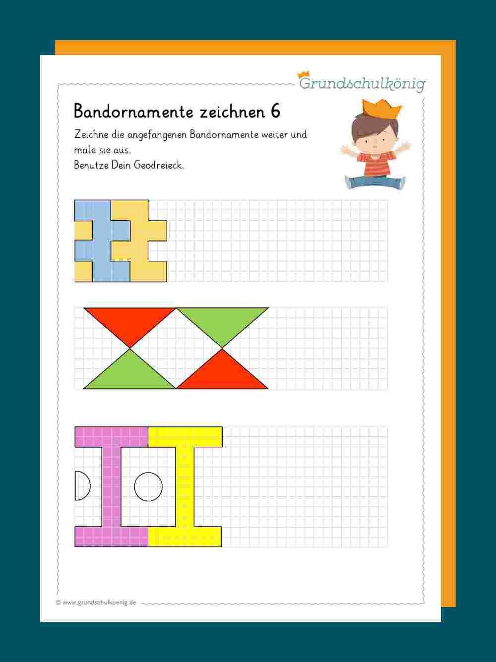 Bandornamente Geometrie 4 Klasse Mathematikunterricht Mathe Unterrichten