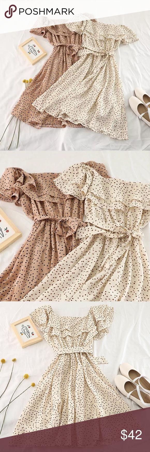 Raffle Off The Shoulder Tan Dress Tan Dresses Clothes Design Dresses [ 1740 x 580 Pixel ]