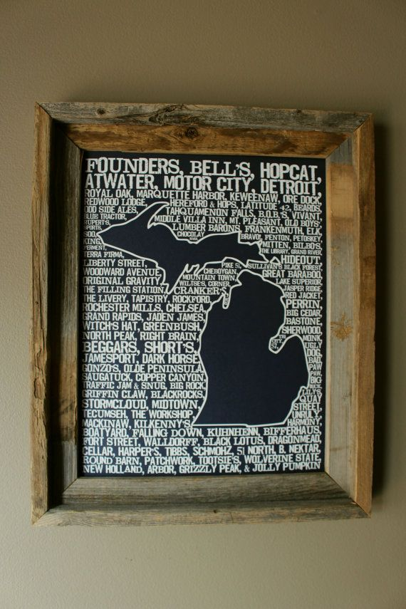 Beers of Michigan Word Map Dark Blue by fortheloveofmaps on Etsy