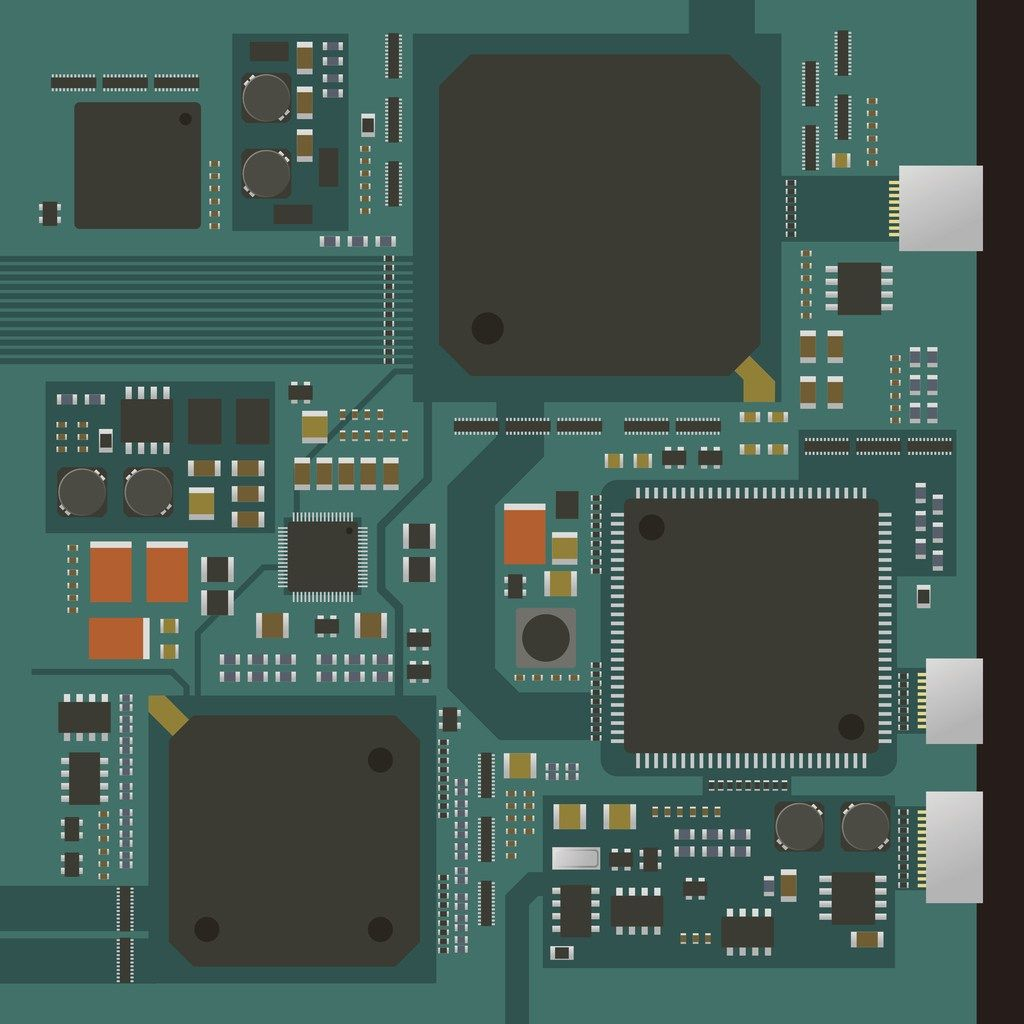 Electric Circuit Board Various Ic Chips And Electronic Components