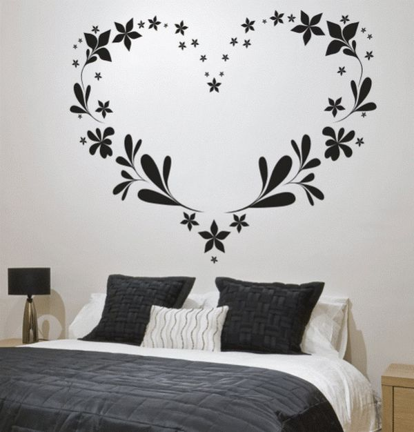 Love Heart Mural In 2019 Wall Decals For Bedroom Simple Wall