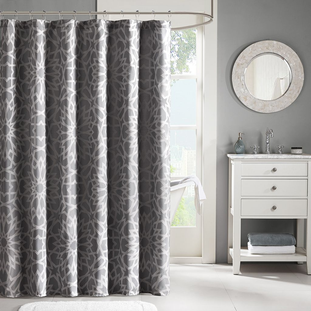 Update Your Space With The Madison Park Carlow Shower Curtain. This Modern  Glam Shower Curtain Features A Charcoal Grey Base With Silver Metallic  Printing ...