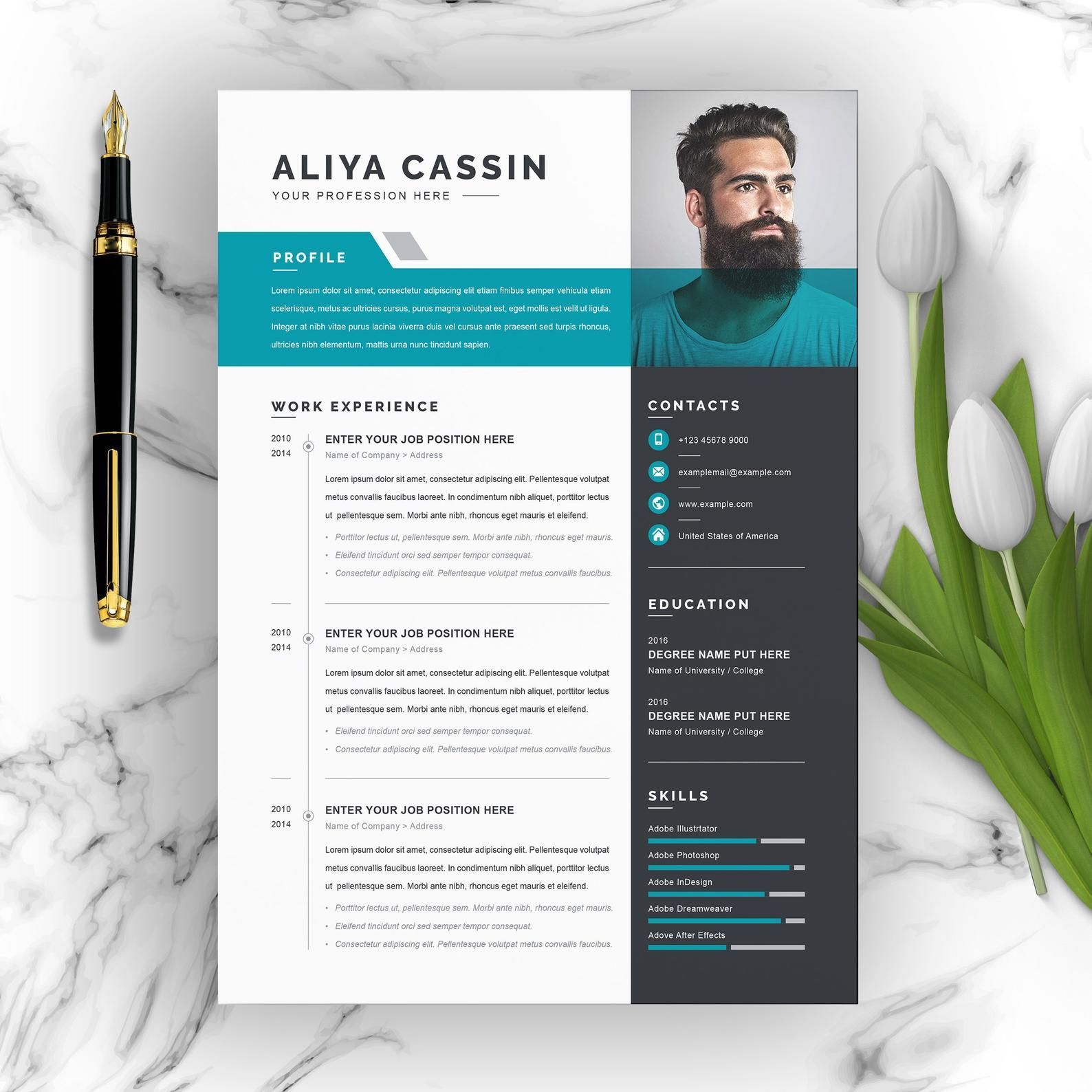 Professional Resume Cv Template With Ms Word Cover Letter Etsy Desain Resume Desain Cv Desain