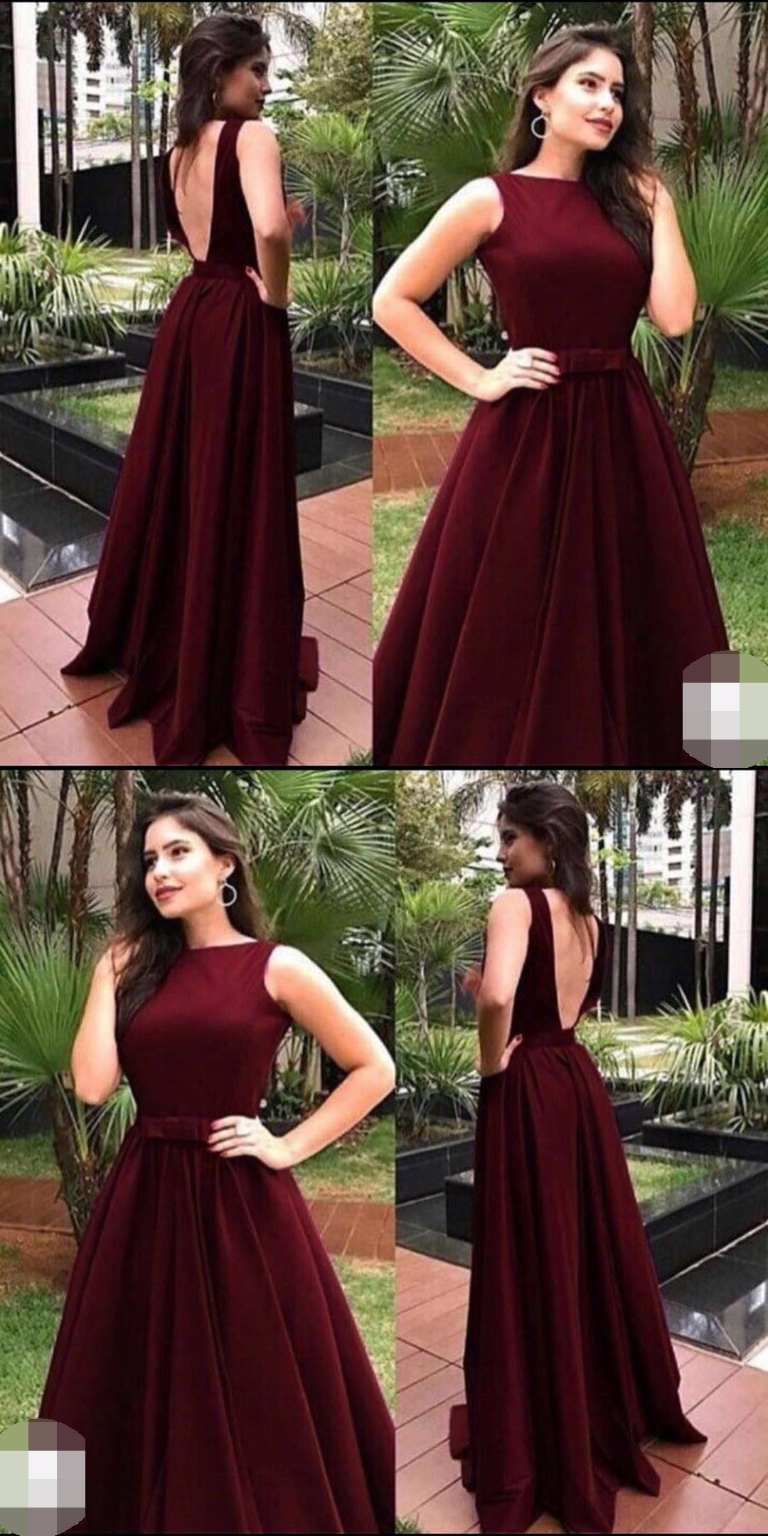 Elegant oneck backless burgundy prom dresseslong prom dresses