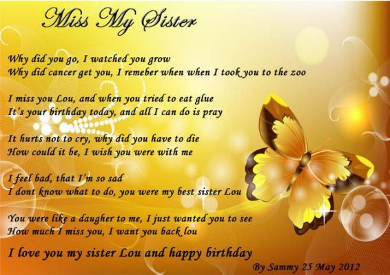 Missing My Sister In Heaven Quotes Poems Sister Poems Sisters