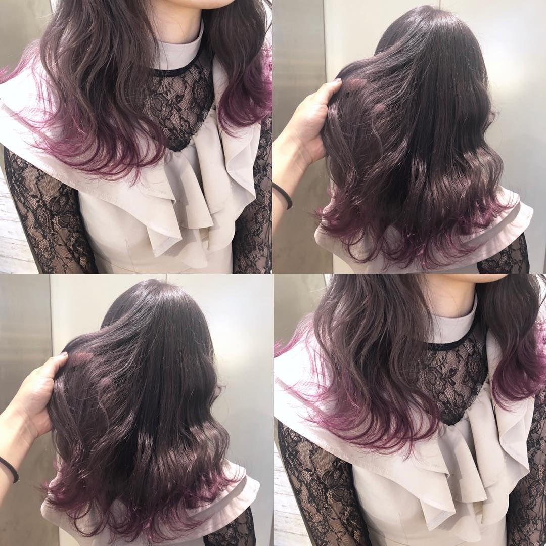 Lavender Gray Pink 全体をブリーチしてから裾にビビッド