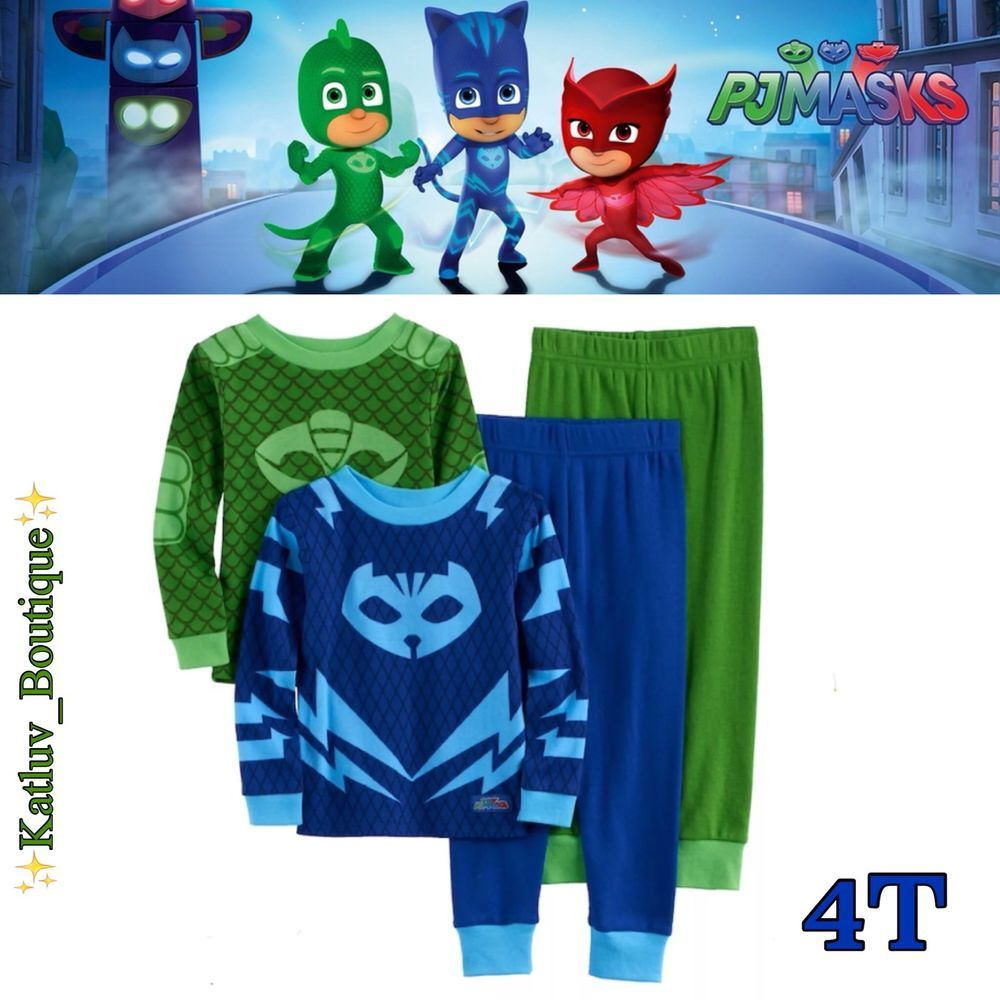b6987da69f43 NEW PJ Masks Toddler Boy s Catboy   Gekko 4-PC Pajama Size  4T ...