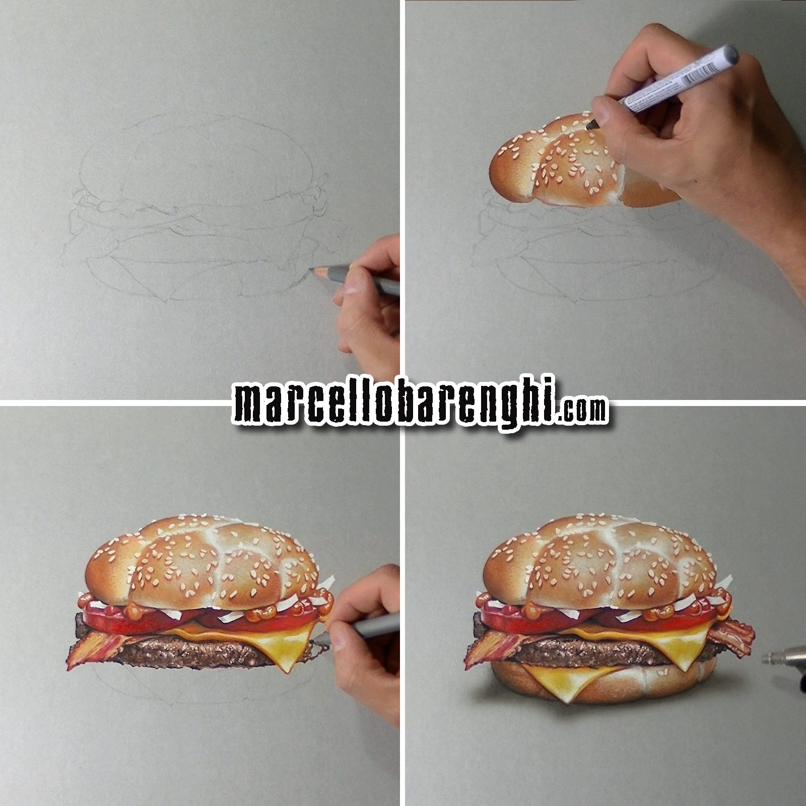 Marcello barenghi mcdonalds mcheaton burger drawing phases