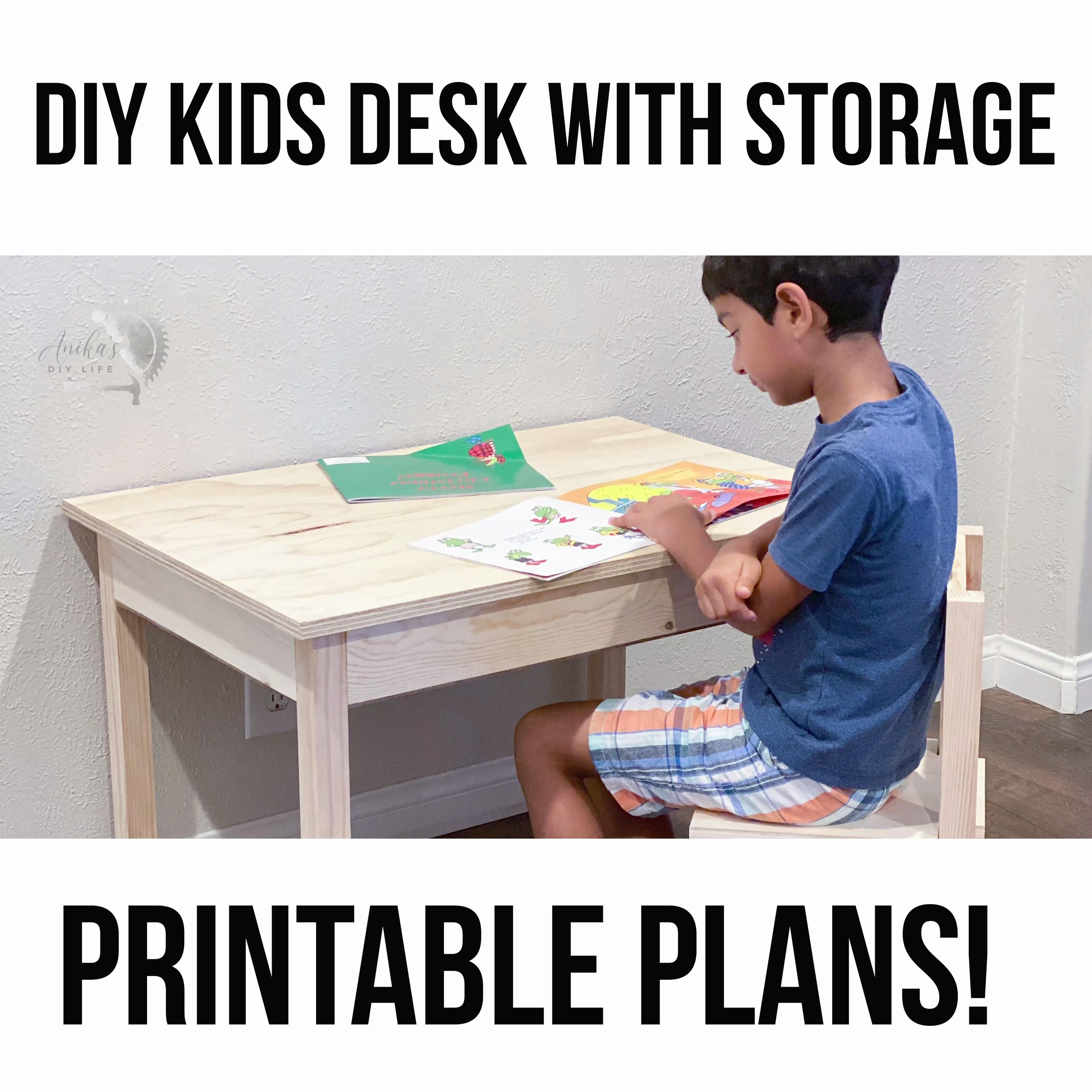 DIY Kids Desk with Storage and Chair - Anika's DIY Life -   19 diy Wood kids ideas