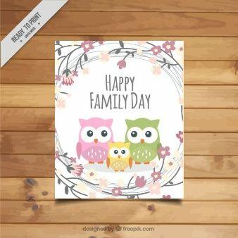 corujas bonitos cartão de dia da família