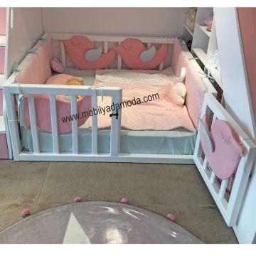 Arkası Çatılı Montessori Yer Yatağı Ortadan Merdivenli 120x200 #girlrooms