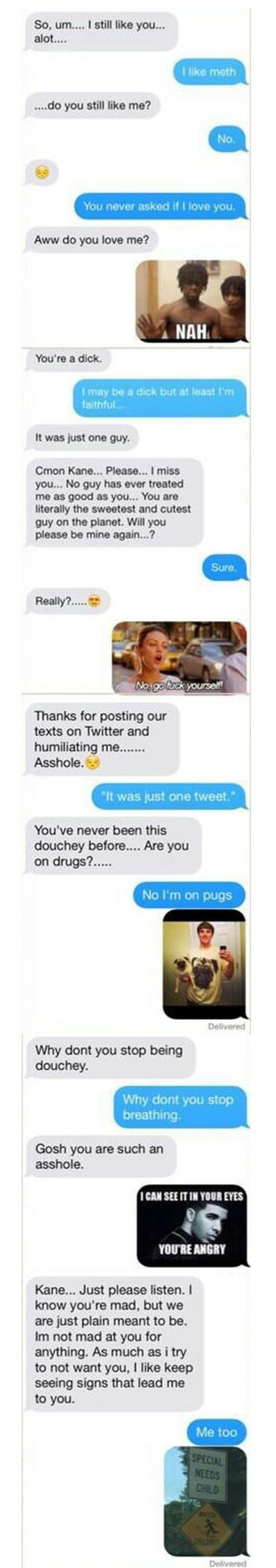 This Guy Handles Texting His Cheating Ex-Girlfriend Like A Champion.