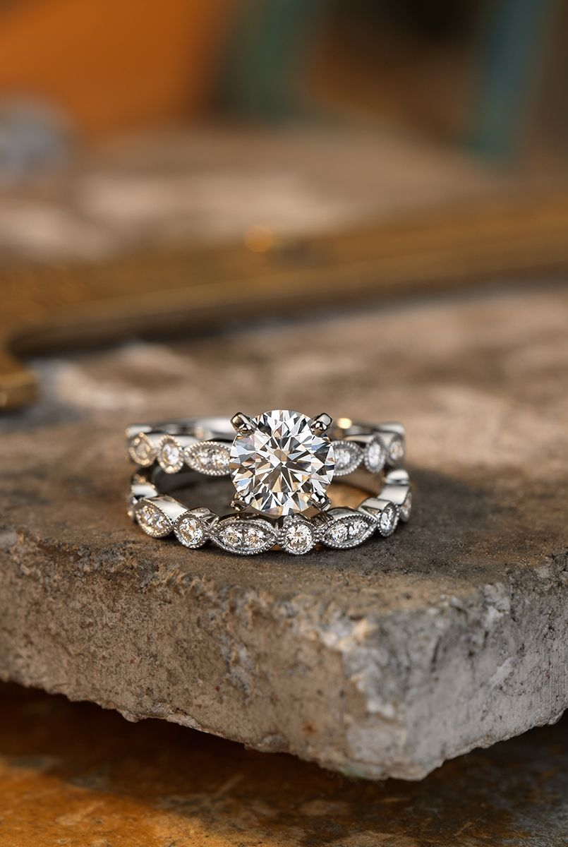 Milgrain Marquise and Dot Diamond Engagement Ring in