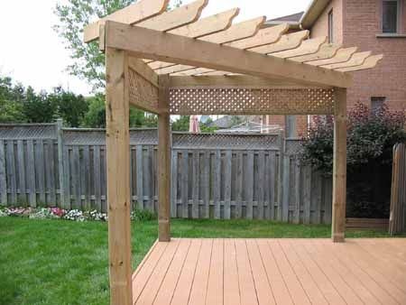 Photo of Corner shade arbor deck nice idea.  Put a swing on one side and a hammock on the…