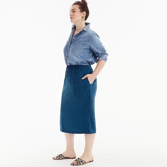 3f4f45935c6 women s universal standard for j.crew cupro shirred midi skirt - women s  skirts I have this skirt in black