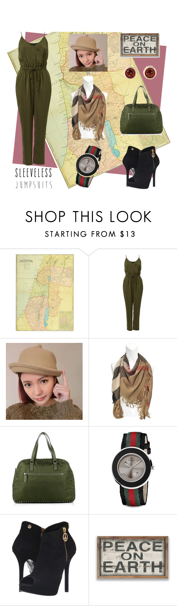 """""""One P-E-A-C-E for All"""" by nisak-tf ❤ liked on Polyvore featuring Burberry, Valentino, Gucci, Love Moschino, contest, peace, army, Palestine and sleevelessjumpsuits"""