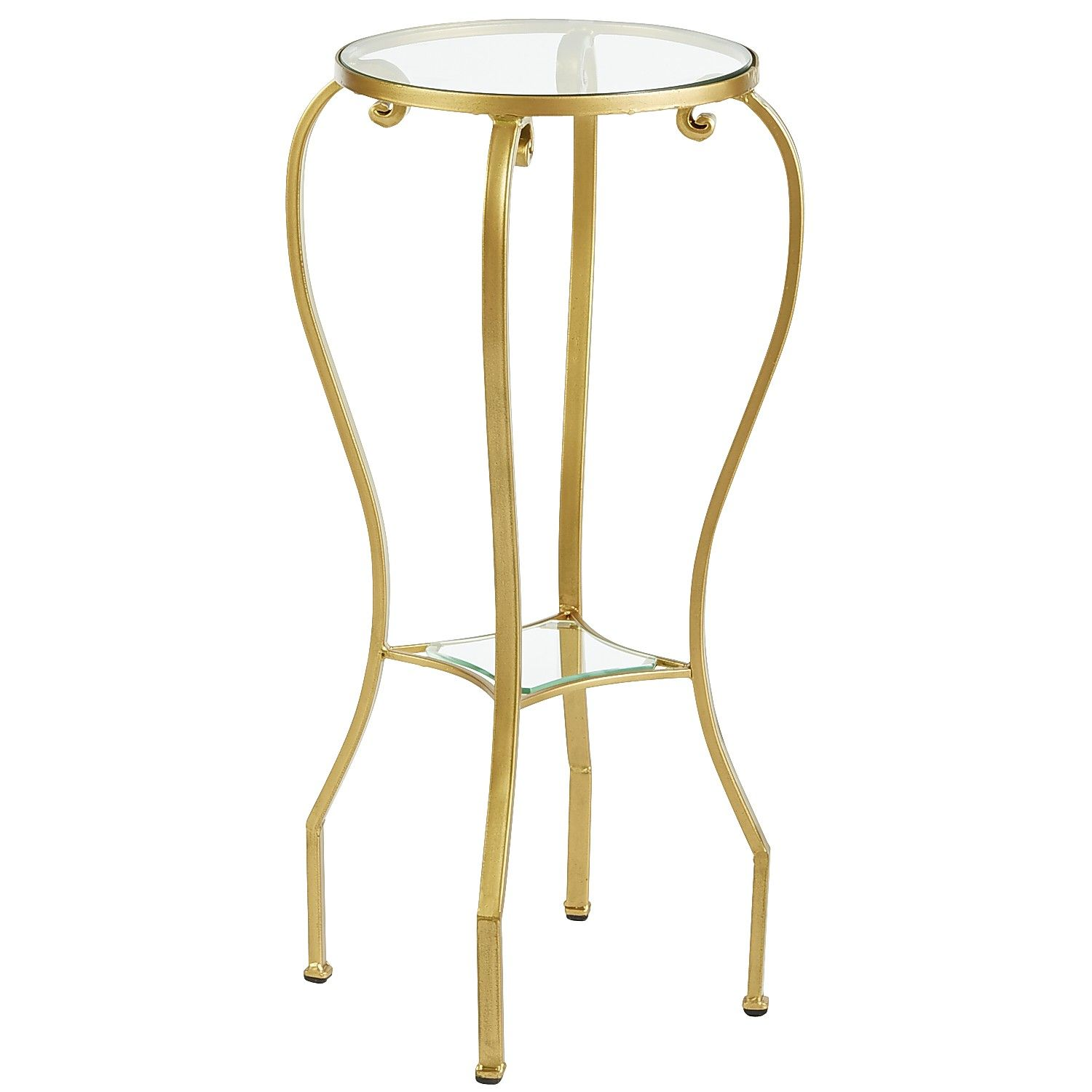 Glass Chasca Pedestal Table - Gold