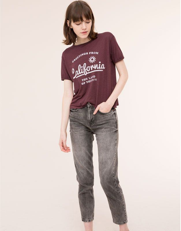 Pull&Bear - mujer - camisetas y tops - camiseta print manga corta - granate - 09242344-I2015