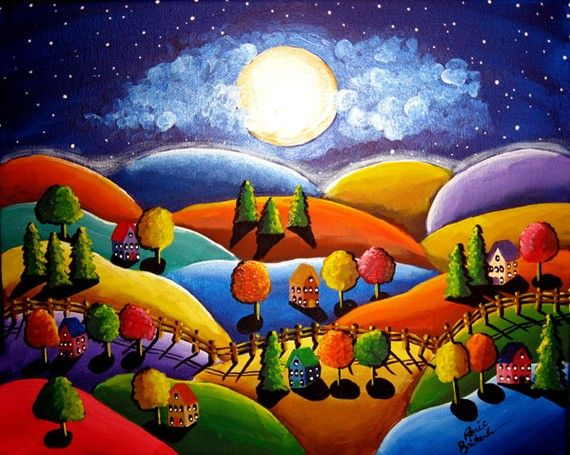 peace on earth colorful landscape whimsical original folk art painting via etsy cathy horvath. Black Bedroom Furniture Sets. Home Design Ideas
