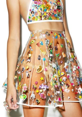 $50 Alternative Style Matching Two Piece Co Ord Pleated A-Line Mini Skirt With Halter Neck Crop Top See-Through Plastic Material With Multicoloured Floral Patterning