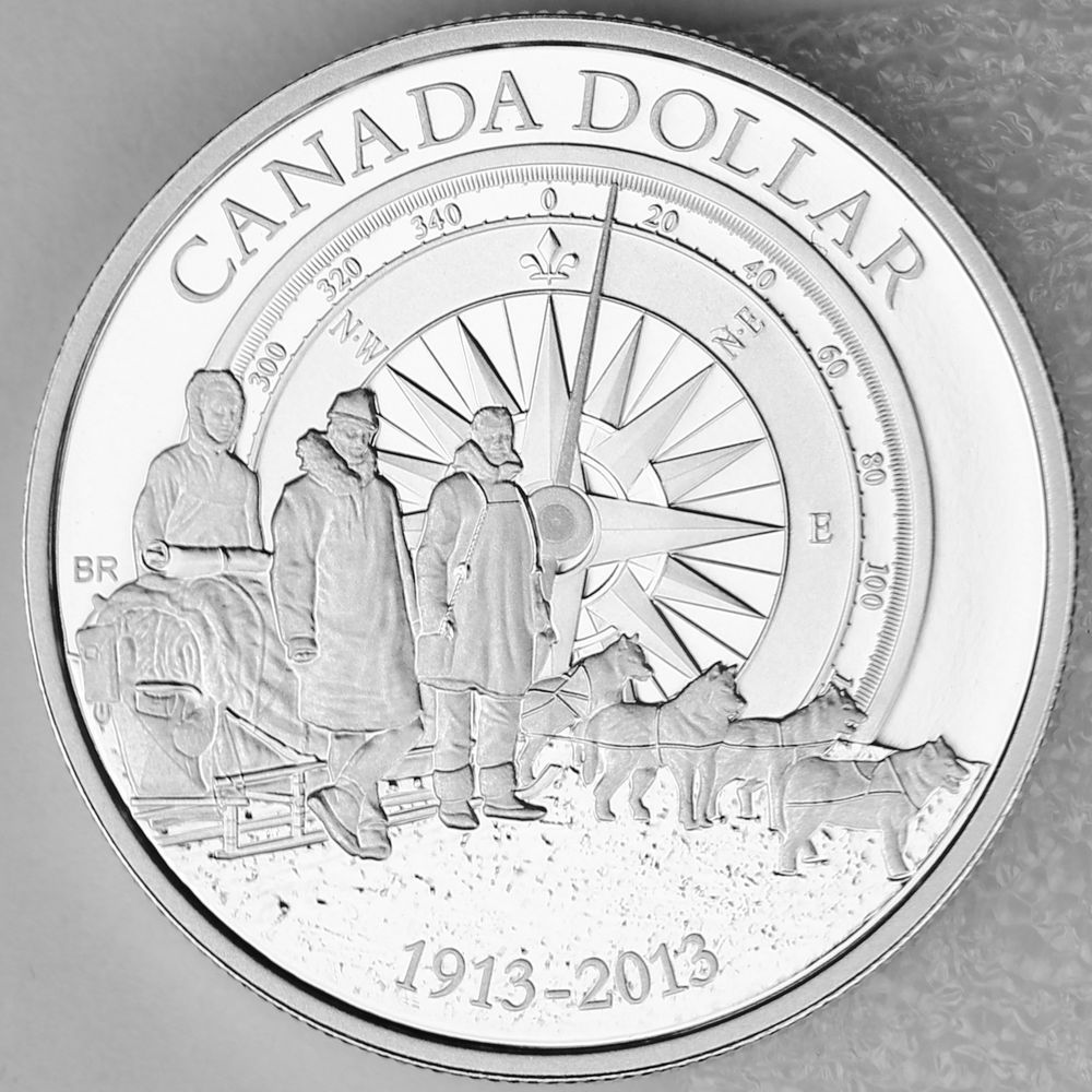 2013 100th Anniversary of the Arctic Expedition Canadian Gold Plated Silver Coin