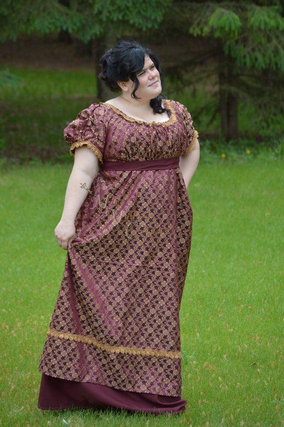 Maroon Rose Silk Brocade Regency Evening Round Gown by MattiOnline