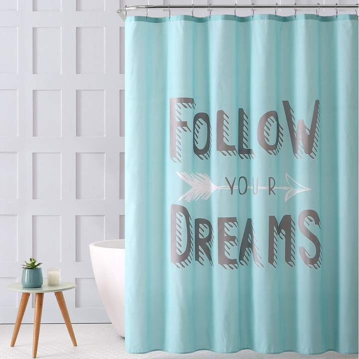 Vcny Follow Your Dreams Metallic Print Shower Curtain Shower