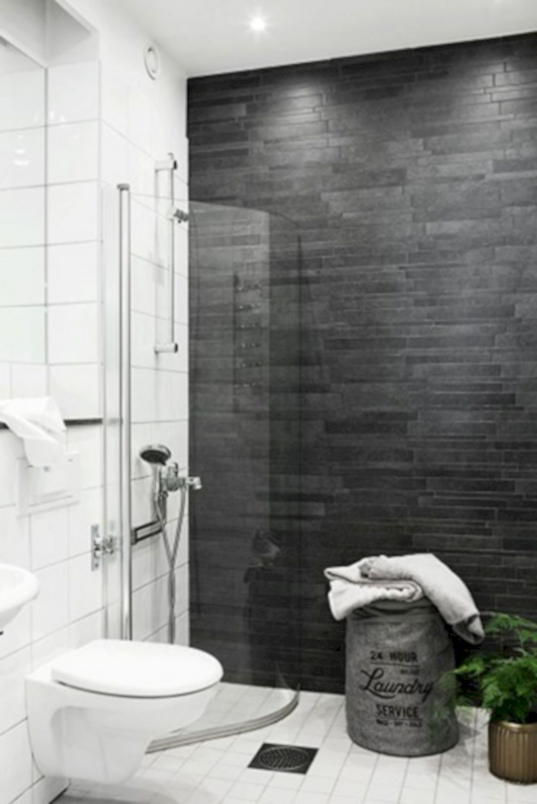 K54 Apartment A Stylish Apartment Designed With Black White And Modern Interior Bathroom Feature Wall Dark Grey Tile Bathroom Dark Bathrooms Dark gray bathroom decor