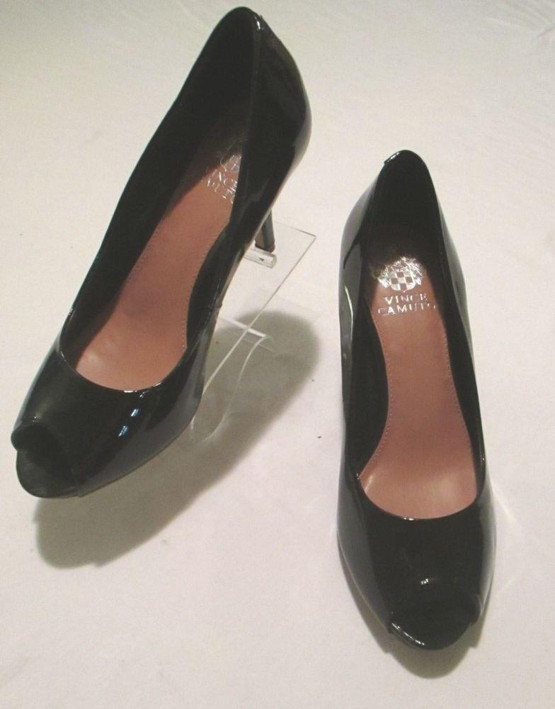 fe356146c9 Vince Camuto New VP Kiras Black Patent Leather Peep Toe 3 1/2