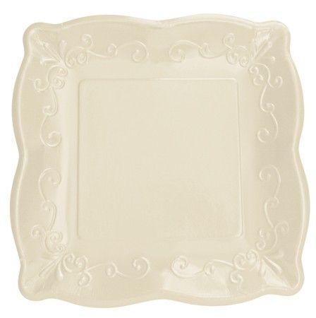 Lot 48 Premium Embossed Linen Dark Ivory 10\  Square Paper Plates Wedding   eBay  sc 1 st  Pinterest & Lot 48 premium embossed linen ~ dark ivory 10\